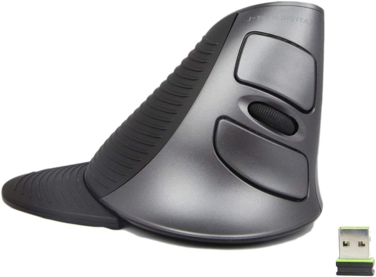 J-Tech Digital Scroll Endurance Wireless Mouse Ergonomic Vertical USB Mouse with Adjustable Sensitivity (600/1000/1600 DPI), Removable Palm Rest & Thumb Buttons - Reduces Hand/Wrist Pain