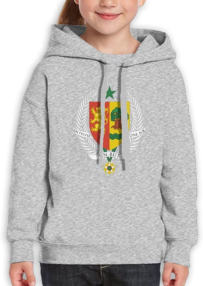 DTMN7 Coat Of Arms Of Senegal Best Graphic Printed O-Neck Hoodie For Kids Spring Autumn Winter
