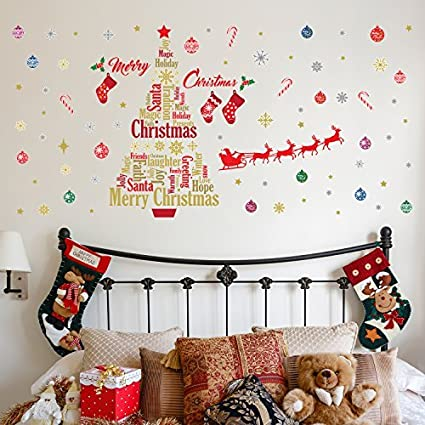 christmas decorations wall stickers christmas decoration set english quotes wall murals