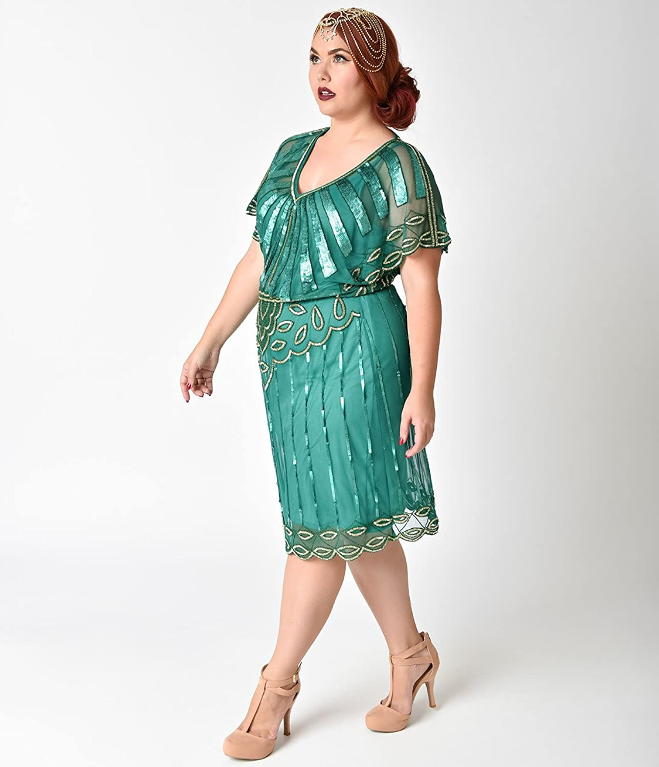 Plus Size 1920s Emerald & Gold Beaded Deco Angel Sleeve Flapper ...