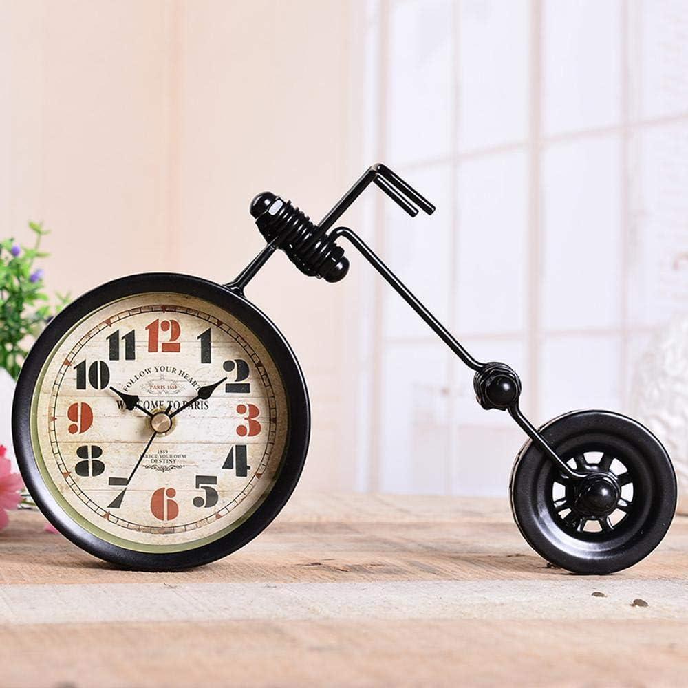 MAOZHE Relojes de repisa Reloj de péndulo de Cuarzo Retro Nostalgia Motocicleta Redonda Grande Reloj casa Living Comedor Dormitorio Reloj único Ornamento 25. 5 * 8 * 16 cm Relojes de Chimenea