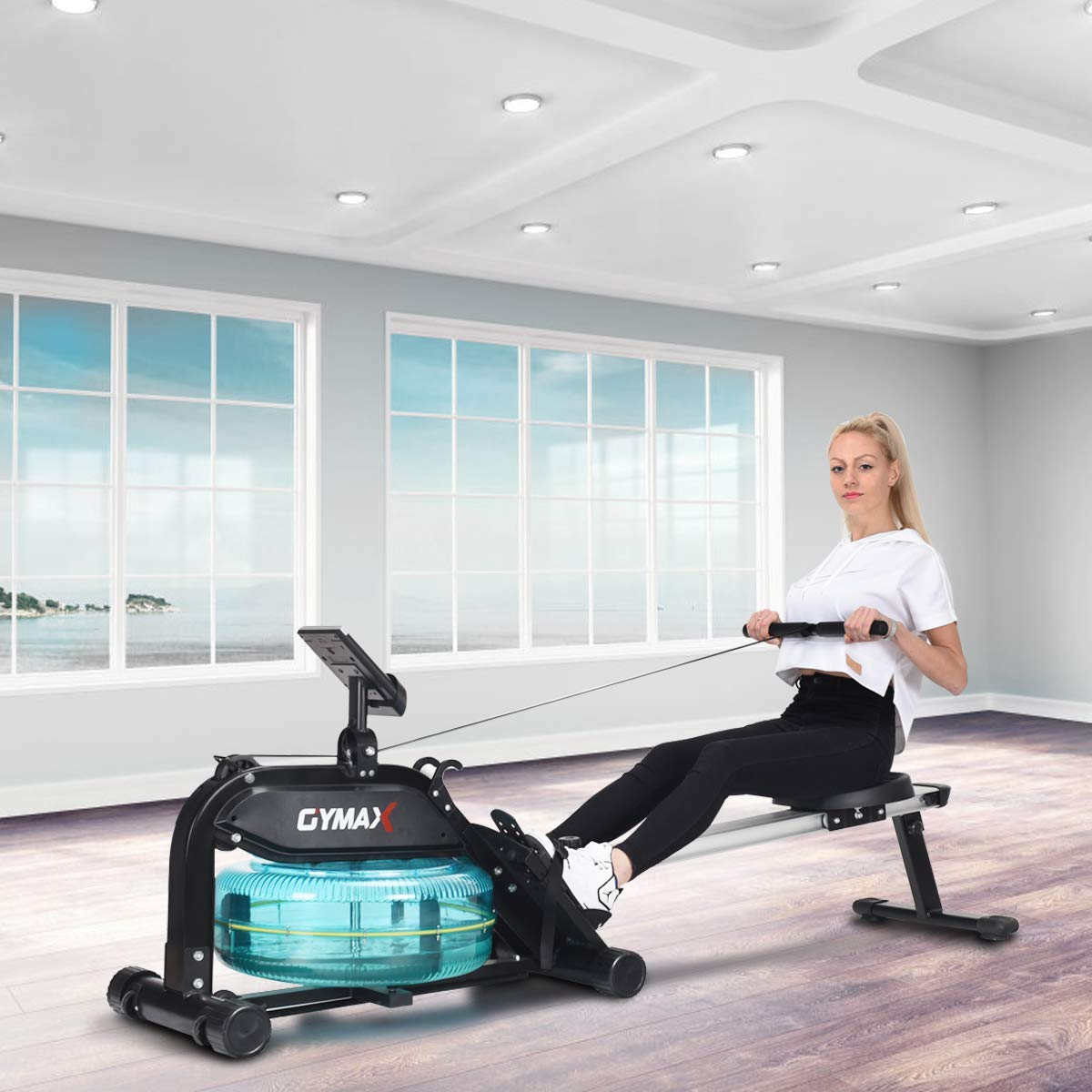 Goplus Water Rowing Machine with Heart Rate Sensor Indoor Water Rower with Adjustable Resistance Water Wheel LCD Monitor & Full Body Exercise for Home Use by Goplus (Image #8)