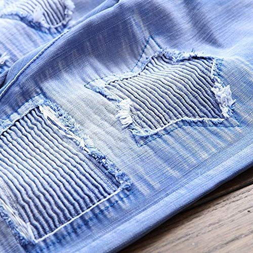 Slim Strappati Con Fori Blau Saoye Pantaloni Chern Jeans Uomo Fashion Denim Cowboy Stretch Fit Rotti Da Di Giovane Retrò w8wpqX