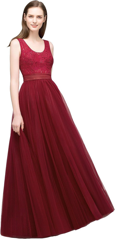MisShow Damen U-Ausschnitt maxilang Kleid Abendkleider Abi