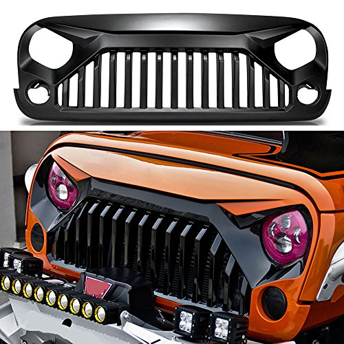Price comparison product image Iguana Custom Gladiator Vader Angry Bird Front Matte Black Grille Grid Grill for Jeep Wrangler Rubicon Sahara Sport JK JKU 2007-2017