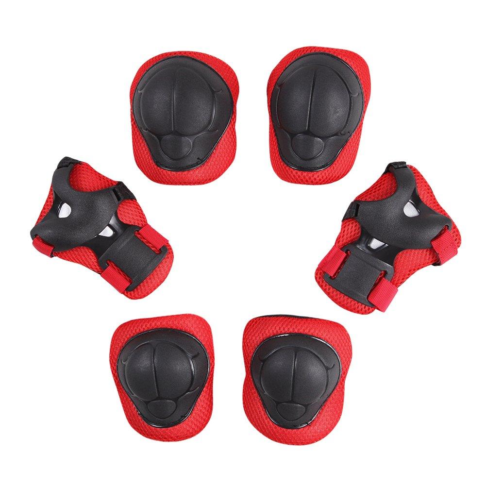 CHIC-CHIC Pack of 6 Kid's Child's Knee Pads Wrist Roller Elbow Guards Protective Gear Set for Cycling Skating Biking Sports