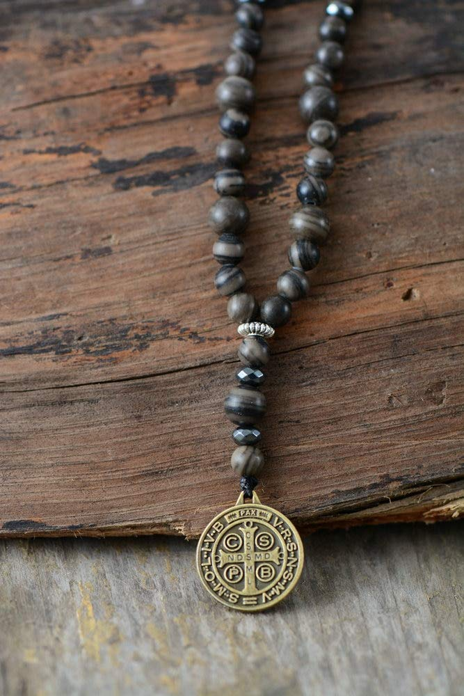Davitu Mens Necklace Quality Natural Stone with Jesus Pendant Mens Rosary Necklace Best Friend Hematite Necklace Mens Jewelry