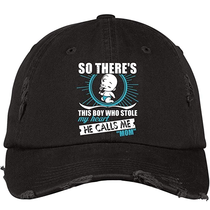 507f8521d3c He Calls Me Mom Hat, Who Stole My Heart District Distressed Dad Cap ( Distressed