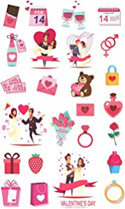 H2 Studio Heart Stickers, Love Stickers, Heart Stickers for Envelopes, Romantic Items for Gift Wrapping on Valentines Day Decoration, for Couple, Wedding Stickers Pack 36