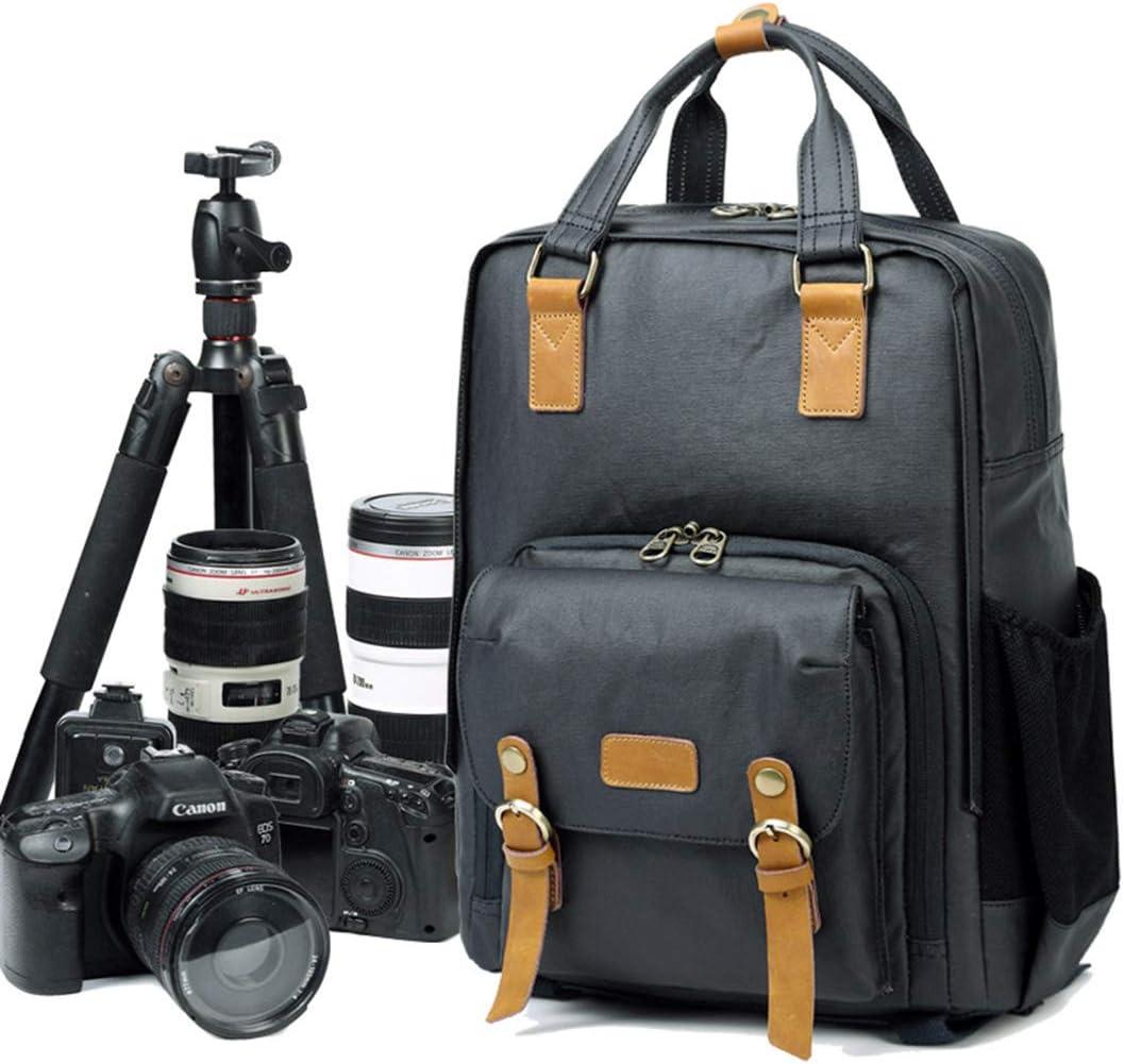 Color : Blue Carriemeow Men//Women Backpack Daypack Waterproof Vintage Zipper Canvas Camera Bag Student Outdoor Shopping