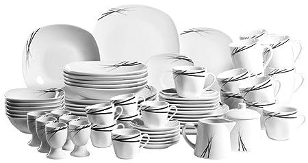 Mäser Linea Nera Series Dinnerware Set with 62-Pieces Porcelain Tableware for  sc 1 st  Amazon UK & Mäser Linea Nera Series Dinnerware Set with 62-Pieces Porcelain ...