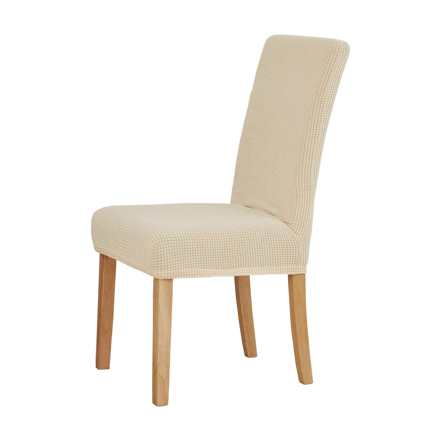 Deconovo Luxury Soft Chair Covers Short Dining Water Resistant Chair Protector Set of 4, Beige