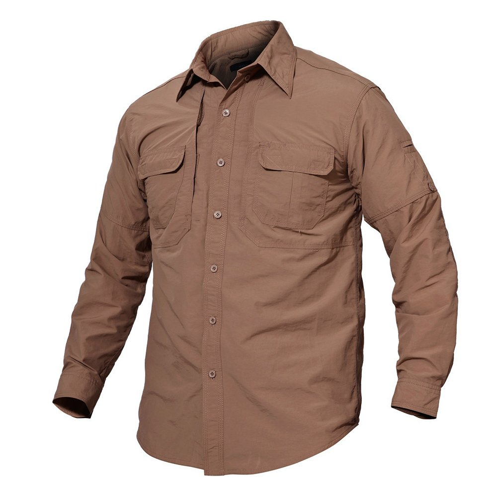 TACVASEN Men's Quick Dry UV Protection Long Sleeve Button Down Shirt