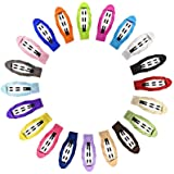 Frcolor 20pcs 2 Inch Grosgrain Ribbon Non Slip Hair Clips Wrapped Snap Barrettes for Baby Girls Toddlers Kids