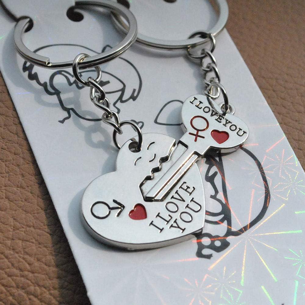 Titane Acier Porte-clés Keychain amoureux saint valentin Cool Cadeau Argent 1pc