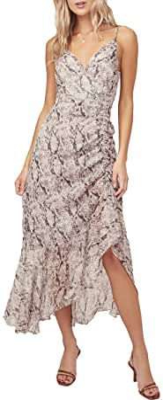 ASTR the label Womens Mariah Sleeveless Ruched Midi Dress Sleeveless Dress - Multi