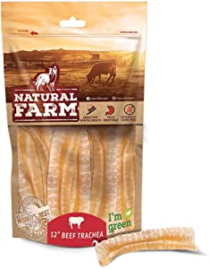 Natural Farm Beef Trachea for Dogs, Odor-Free, 100% Beef, Made & Packaged at Our Own Food-Grade Facility – Grass Fed Cattle, Great Chews, UDSA/FDA Approved, Best Rawhide Alternative