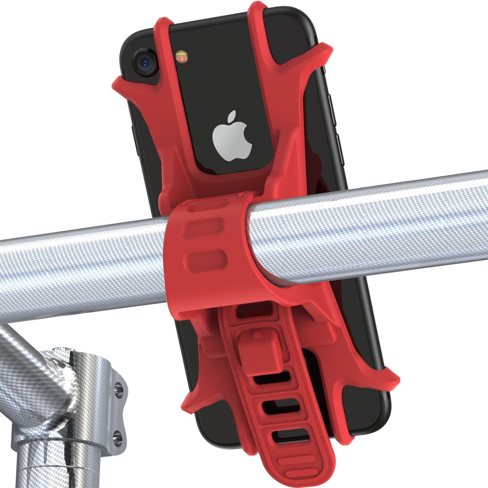 Fnova Bike Phone Mount, Silicone Adjustable Bicycle Phone Holder, Universal Cradle for Any Smartphone with 4.5-5.5 Inch Screens and All Bicycle Handlebars, Attach and Detach in Seconds FNSPOT99