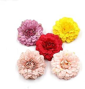 Fake Flower Heads Bulk Silk Marigold Artificial Flowers Wedding Party Decorative Flower DIY Festival Home Decor Hat Ornament Simulation Fake Flower Flower Decorative 15pcs (Multicolor)