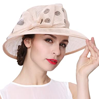 Koola s hats Women Hats 3 Layers Sinamay Wedding Hats Champagne Sun Hat  Saratoga Race Course a580473a27d