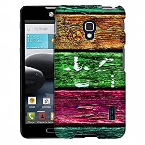 LG Optimus F6 Case, Slim Fit Snap On Cover by Trek Orange Green Pink Wood Case