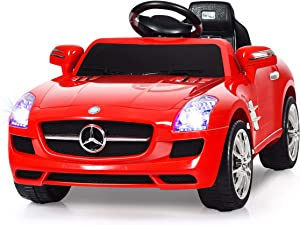 Goplus Kids Ride on Car, Licensed Mercedes Benz SLS w/ Parent Remote Control, LED Lights, MP3 Player, Battery Powered Electric Toy Car for Boys and Girls