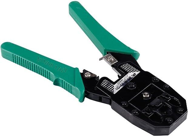 Maletín con crimpadora, para RJ11 y RJ45, pelador, tester, herramienta de inserción, destornilladores y conectores negro negro RJ1KIT