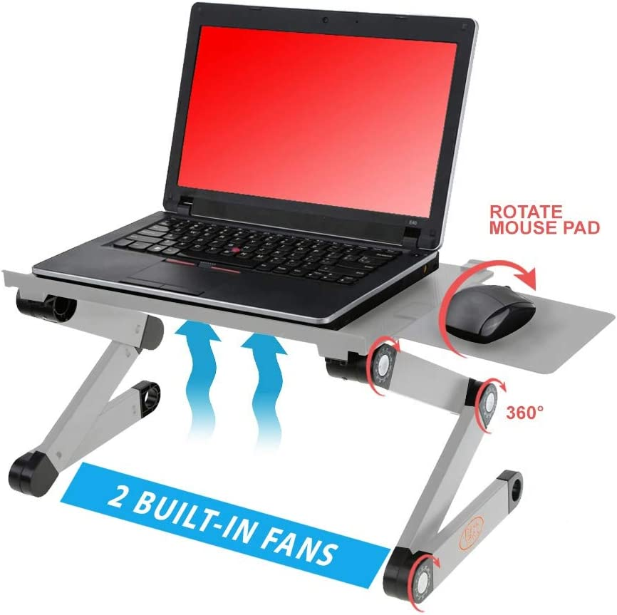 Desk York Portable Aluminum Laptop Stand - Best Gift for Friend-Men-Women-Student - Recliner/Bed Lap Tray - Table for Computer-2 Built in Cooling Fans-Mouse Pad and USB Cord {Silver}
