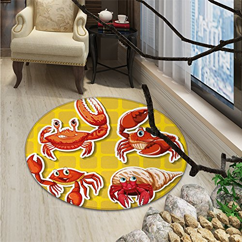 Crabs Round Rugs Stickers of Four Different Crabs Illustration in Cartoon Style PrintOriental Floor and Carpets Earth Yellow and ()