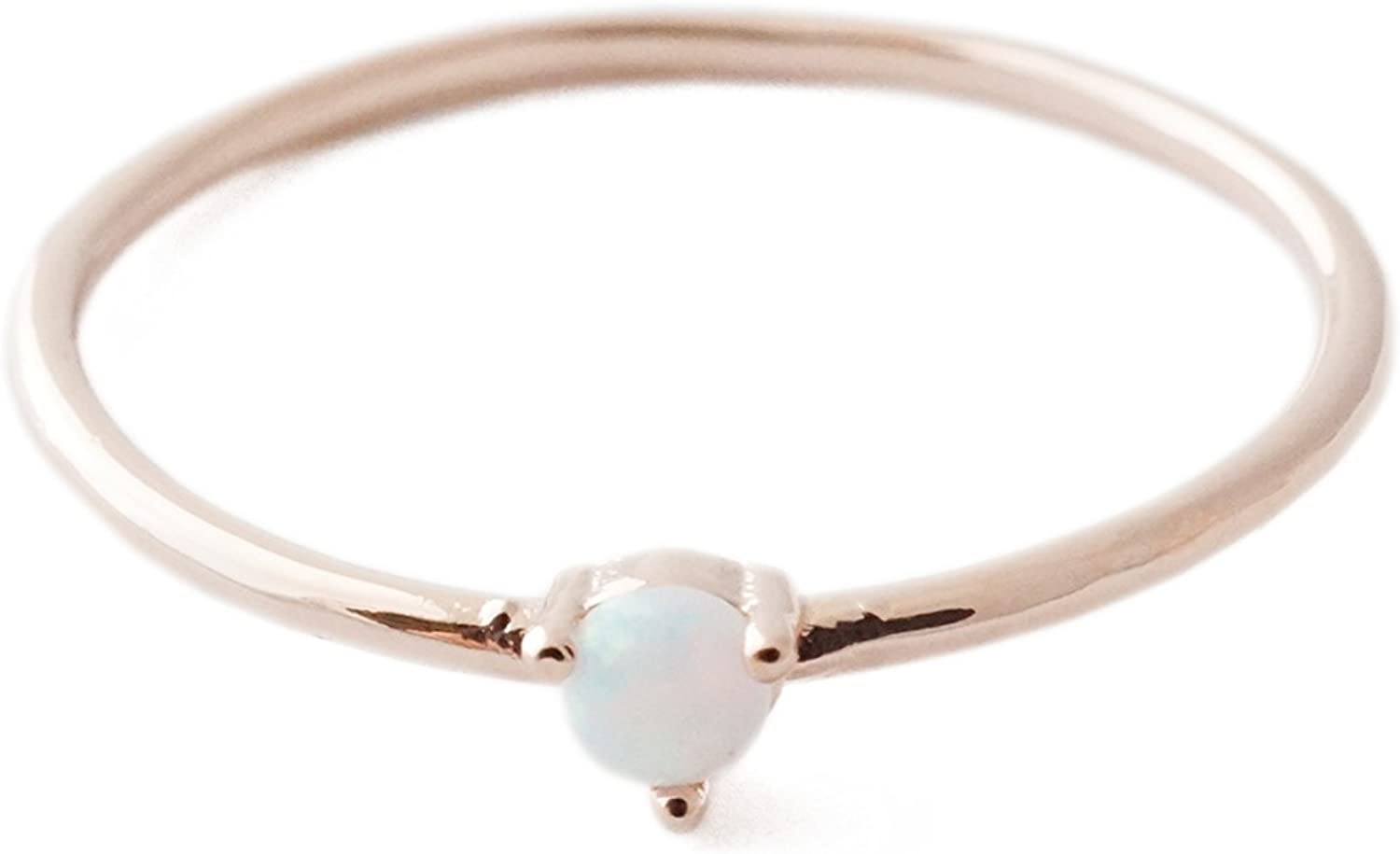 HONEYCAT Opal Orb Crystal Ring in Gold, Rose Gold, or Silver | Minimalist, Delicate Jewelry
