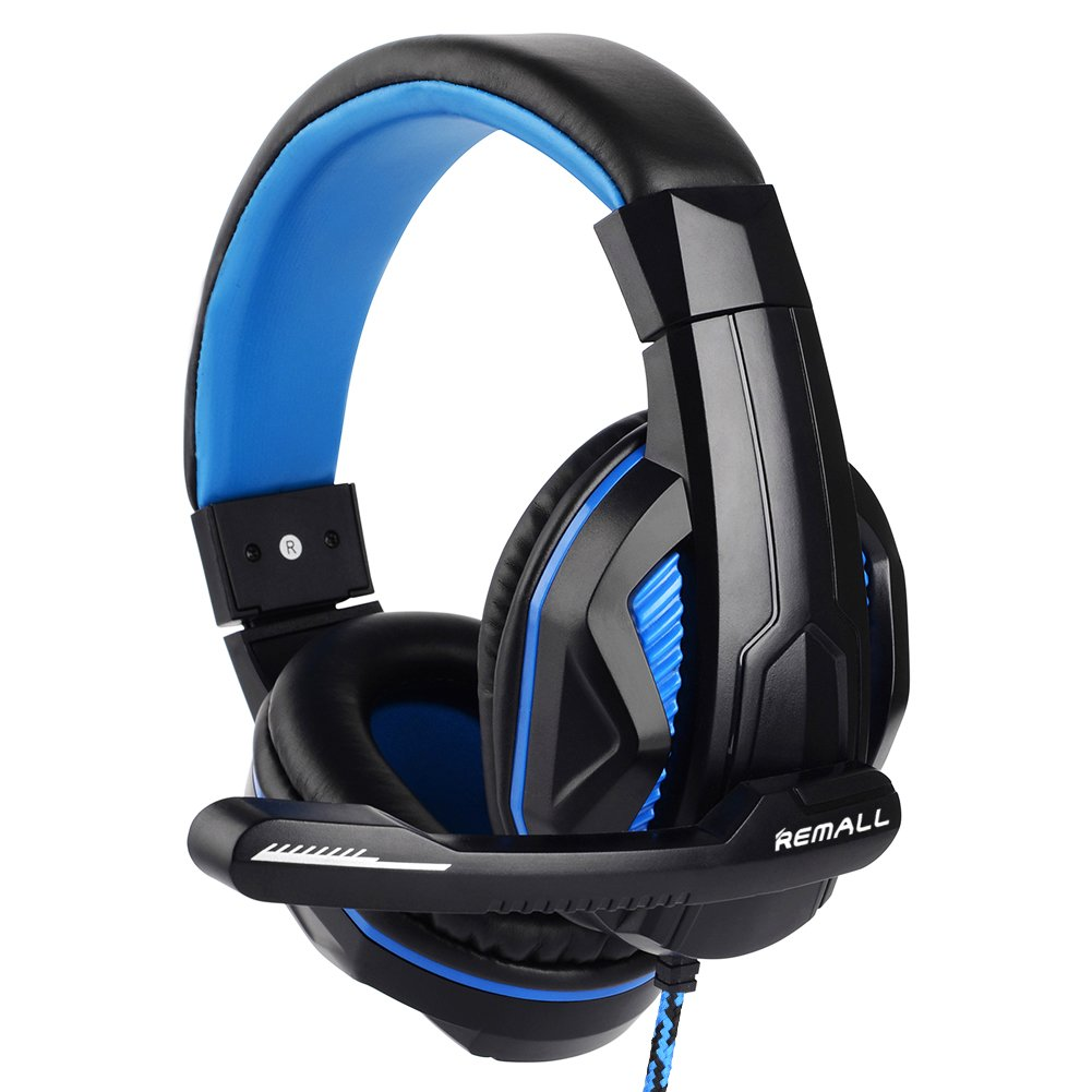 Remall 2018 New Updated Gaming Headphones,X8 3.5mm Stereo Sound Wired Professional Computer Gaming Headset with Microphone,Noise Isolating Volume Control for Pc/Mac/Phone/Table(Black Blue)