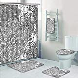 Designer Bath Polyester 5-Piece Bathroom Set, Ethnic Lace Floral Pattern Arabesque Moroccan Effects Islamic Folk Design Grey White Shower Curtain/Toilet seat/Bath Towel