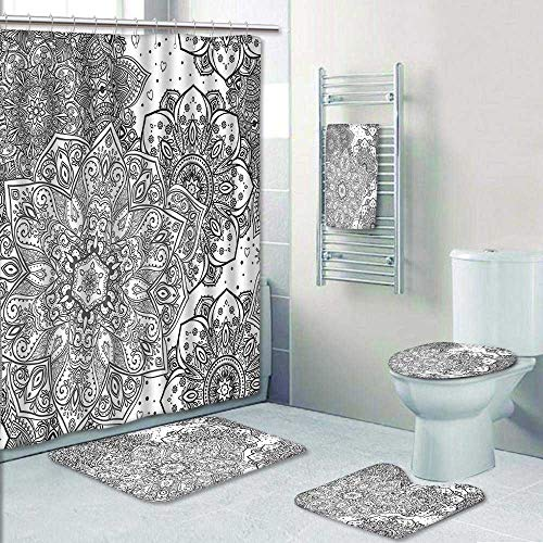 Designer Bath Polyester 5-Piece Bathroom Set, Ethnic Lace Floral Pattern Arabesque Moroccan Effects Islamic Folk Design Grey White Shower Curtain/Toilet seat/Bath Towel by AmaPark