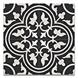 Moroccan Mosaic & Tile House CTP33-02 Casa 8''x8'' Handmade Cement Tile in Black and White (Pack of 12), Blackwhite