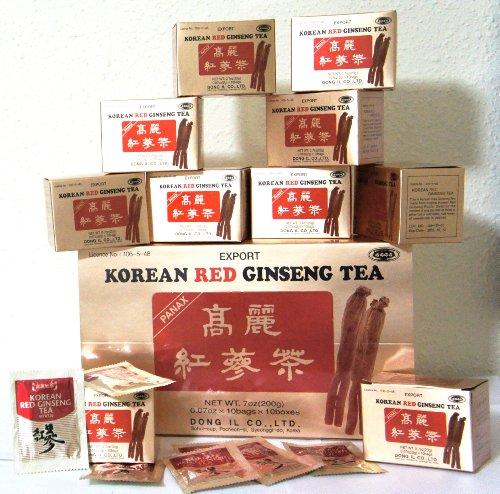 Red Panax Ginseng Honey (INSTANT KOREAN RED GINSENG TEA 100 Tea Bags - NET WT 7 oz (200 g))