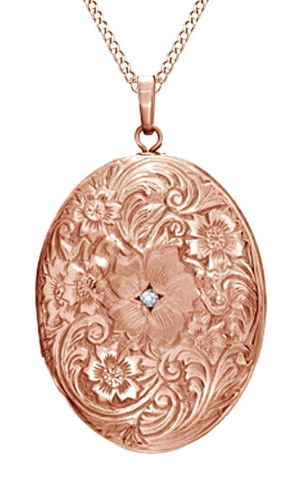 Amazon.com: Natural Diamond Accent Oval Locket Colgante con ...