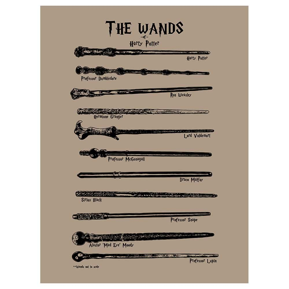 Inked and Screened Sci-Fi and Fantasy Harry Potter Wands Design Art Poster Silk Screen Print, 8.5 x 11, Black Licorice-White Ink 8.5 x 11 SP_SYFI_HPWands-TD_BL_11_W