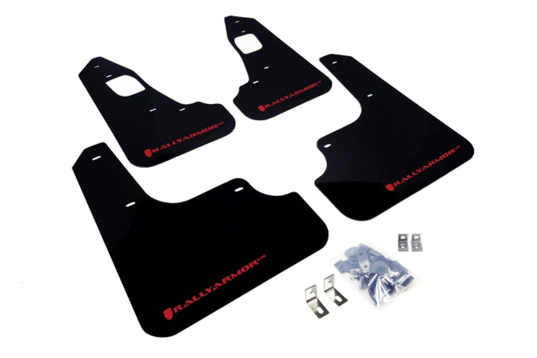 Amazon com rally armor urethane mud flaps evo x black with red logo automotive