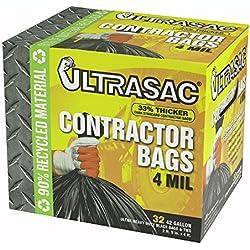 "Aluf Plastics 770478 Ultrasac Heavy Duty Professional Quality Contractor Trash Bag, 42 Gallon Capacity, 48"" Length x 33"" Width x 4 mil Thick, Black (Case of 32)"