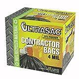 Aluf Plastics 770478 Ultrasac Heavy Duty Professional Quality Contractor Trash Bag, 42 Gallon Capacity, 48'' Length x 33'' Width x 4 mil Thick, Black (Case of 32)