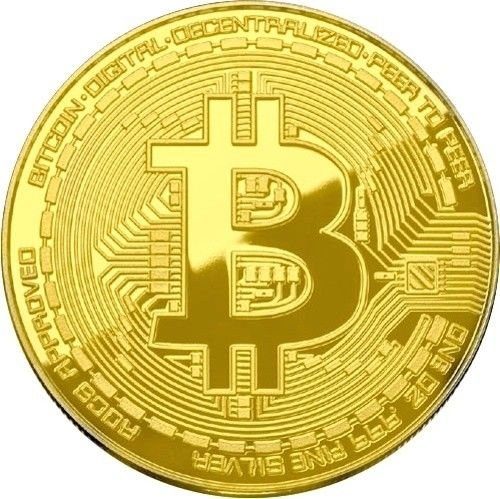 Bitcoin Coin Gold Plated Physical Cryptocurrency Collectible Good Luck Token With Protective Case Included (Gold)