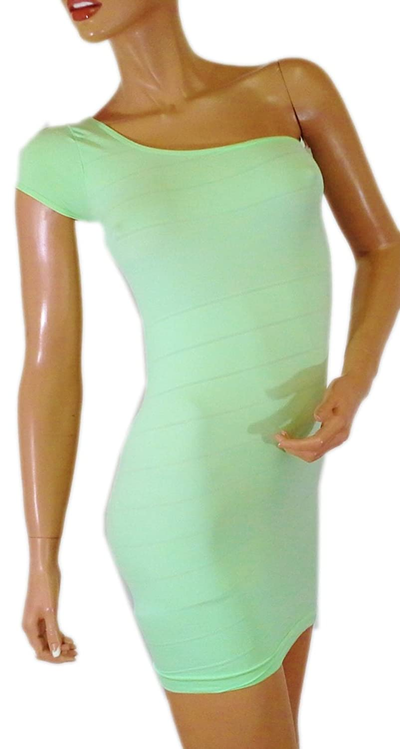 Expression Clothes Dresses. Seamless, One Shoulder Bodycon. Mint Green.