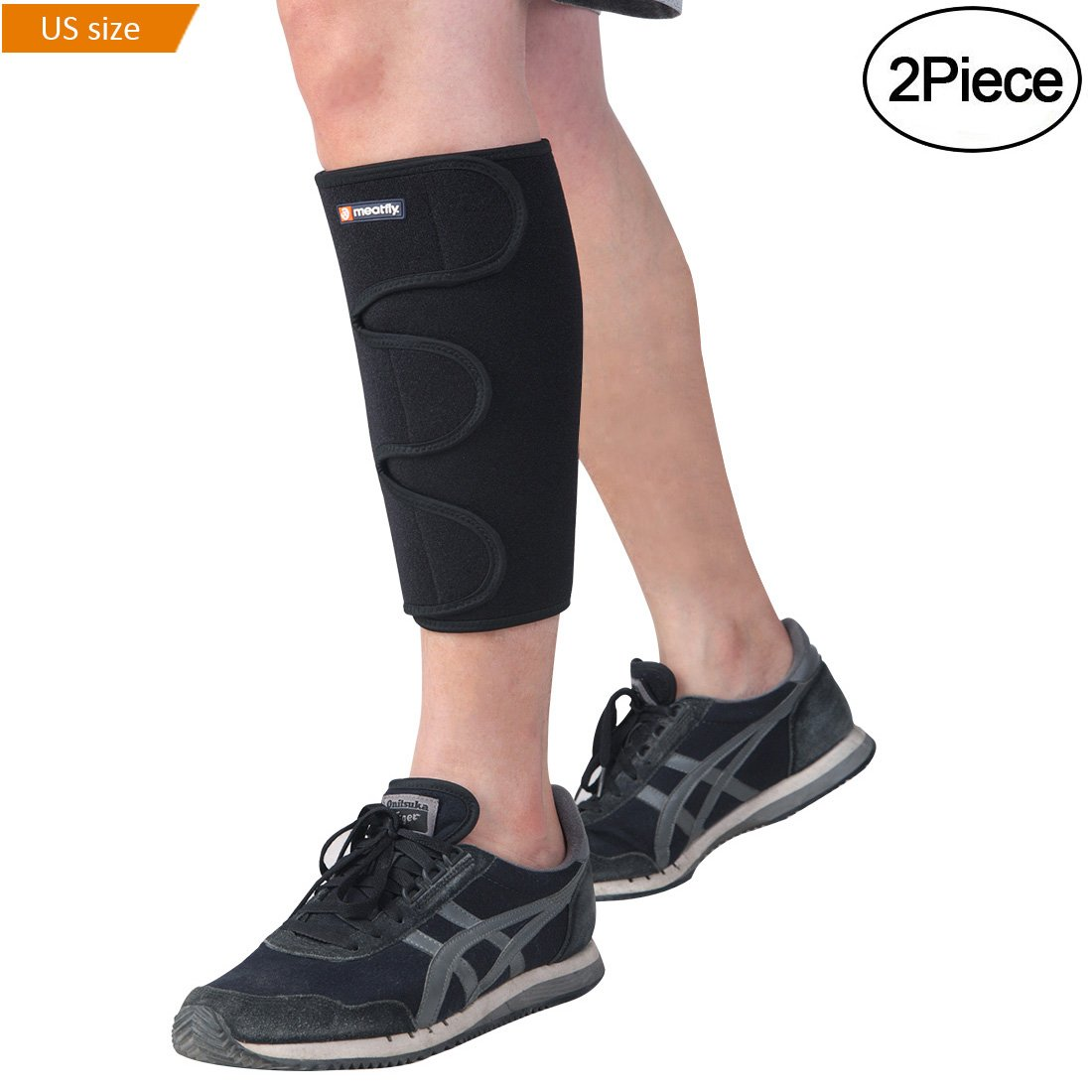 MEATFLY. Shin Splint Support Calf Brace Compression Sleeve Adjustable Wrap for Leg Pain Relief.(Black)