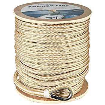 Image of Dock Lines & Rope Amarine Made Heavy Duty Double Braid Nylon Anchor Line with Stainless Steel Thimble-White/Gold