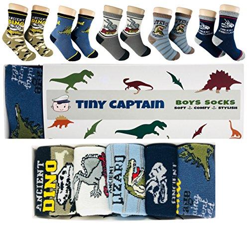 Tiny Captain Boy Dinosaur Socks 4-7 Year Old Boys Crew Cotton Sock Perfect Age 5 Gift Set (Medium, Green And Grey) by Tiny Captain (Image #10)