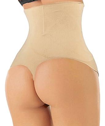 67bed9bceae30 FUT Women Butt Lifter Shapewear Hi-Waist Tummy Slimmer Thong Panty Seamless Body  Shaper Shorts at Amazon Women s Clothing store