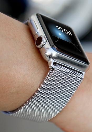 BRG For apple watch series 2, 3 バンド, ミラネーゼループ, ステンレス留め金製(38mm,シルバー)18ヶ月保証付き