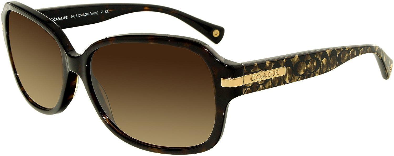 351de419a044 Amazon.com: Coach Women's HC8105 Sunglasses Dk Tortoise/Beige Ocelot Sig  C/Dark Brown Gradient 58mm: Coach: Shoes