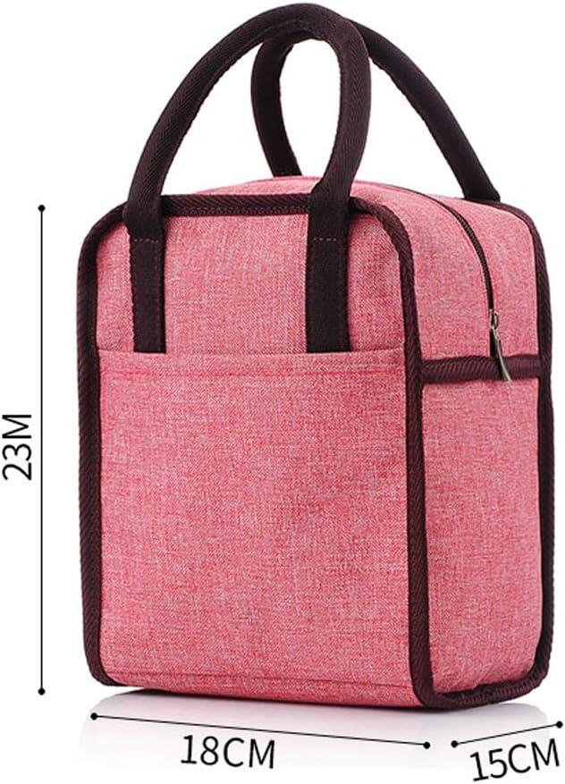 Adultos 23 * 18 * 15cm Rosado Impermeable KFZR Bolsa de Almuerzo con Aislamiento Bolsa de Almuerzo Tote Cooler Bag para Hombres ni/ños Mujeres Tela Oxford Picnic Cool Bag 9x 7 x 5.9