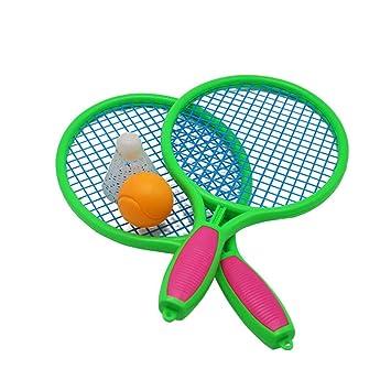 0718a51e4 LIOOBO 2pcs Raquetas Badminton niños raquetero Tenis Juguete para niños  Juego de Playa al Aire Libre (Verde): Amazon.es: Deportes y aire libre